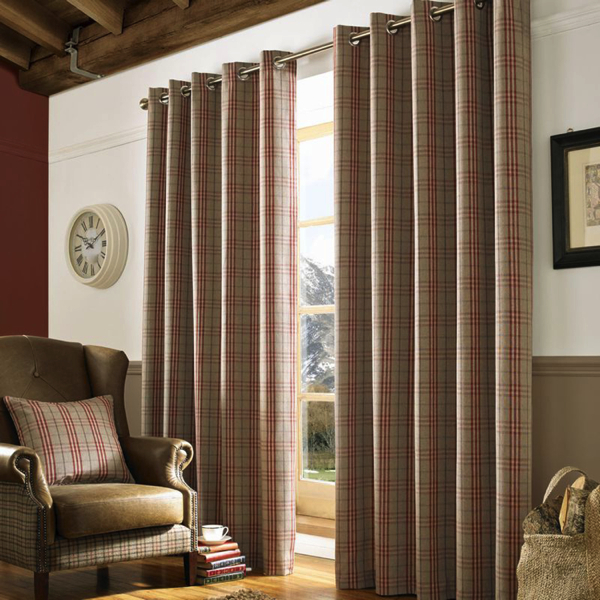 Curtains - Eyelet - Archie - Red