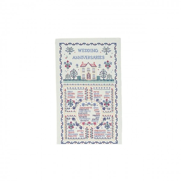 Wedding Anniversaries Sampler Tea Towel Longbone of Berwick