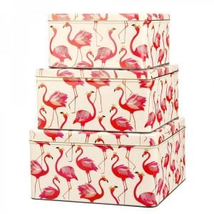 Sara Miller - 3 Square Cake Tins - Flamingo