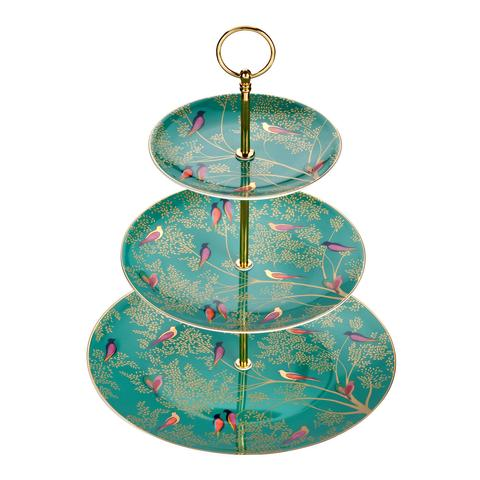 Sara Miller - 3 Tier Cakestand - Green Birds