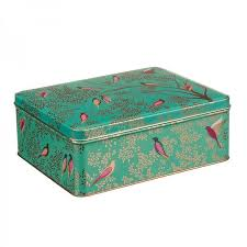 Sara Miller - Green Birds - Deep Rectangular Tin 02