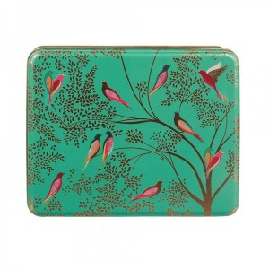 Sara Miller - Green Birds - Deep Rectangular Tin 03