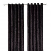 Crushed Velvet Curtain - Black 01
