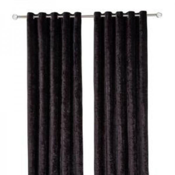 Crushed Velvet Curtain - Black 01