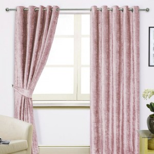 Crushed Velvet Curtain - Blush Pink 01