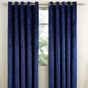 Crushed Velvet Curtain - Indigo 01