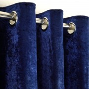 Crushed Velvet Curtain - Indigo 02
