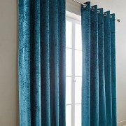 Crushed Velvet Curtain - Teal 01