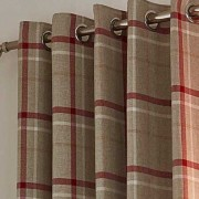 Hudson Woven Curtains - Red 01