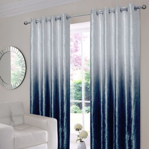 Ombre Velvet Curtains - Blue