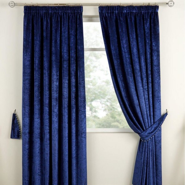 Scarpa Velvet Curtains & Tieback - Indigo 01 - Copy