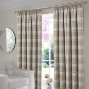 Shetland Check Curtains - Natural