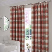 Shetland Check Curtains - Terracotta